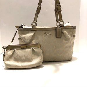 Coach Signature Cream Shimmering C's Shoulder Bag